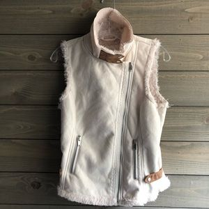 Altar'd State Faux Suede and Fur Vest Ivory Small